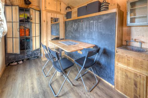 tiny house murphy bed cool rustic tiny house combines chalkboard wall and murphy