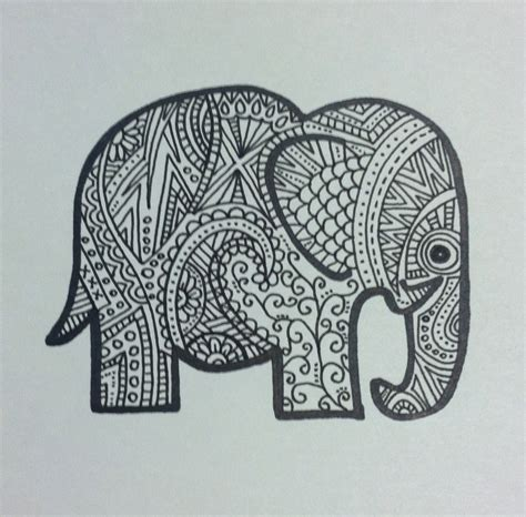 aztec elephant coloring page elephant doodle drawing painting pinterest elephant