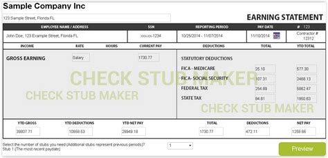 How To Make A Pay Stub Check Stub Maker Make Paycheck Stubs Templates Free