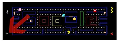 doodle pacman keeps pacman logo live adds mute