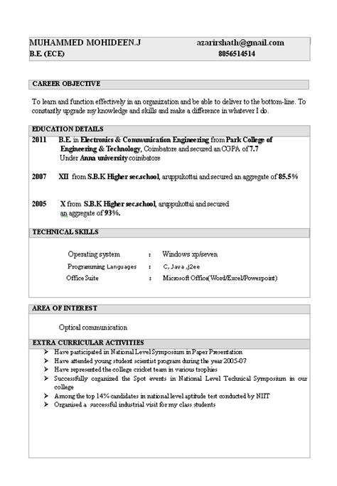Resume Sles For Experienced Electronics And Communication Engineers electronics and communication engineering resume resume