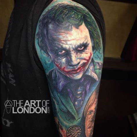 the joker heath ledger color portrait tattoo by london