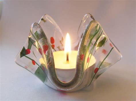 fused glass tealight holder christmas folksy