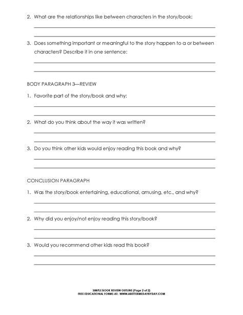 Basic Book Report Guidelines by Free Simple 5 Paragraph Book Review Or Report Outline Form Book Reviews Book Review And Outlines
