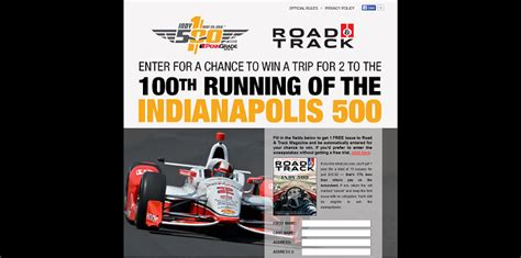 Road And Track Sweepstakes - roadandtrack com indy500 road and track magazine indy 500 sweepstakes