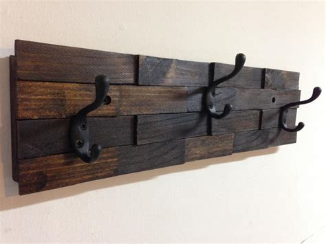 Wall Mount Coat Rack With Hooks by Rustic Wood Coat Rack Wall Mount With 3 Coat Hooks Entryway