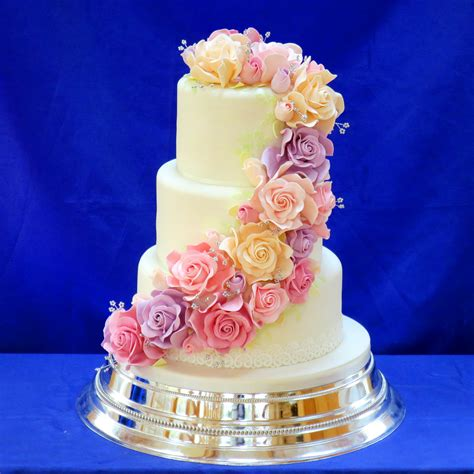 Where Can I Buy Christmas Cake Decorations Uby Pre Wedding Cake Decorated With Cascading Sugar Roses