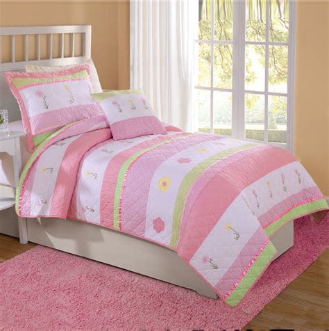 girls pink bedding pink tara stripe flower girls bedding twin quilt sham ebay