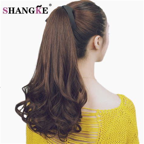 Wig Hairclip Ponytail Poni shangke wavy ponytail wigs pony hair hairpiece extension synthetic in hair