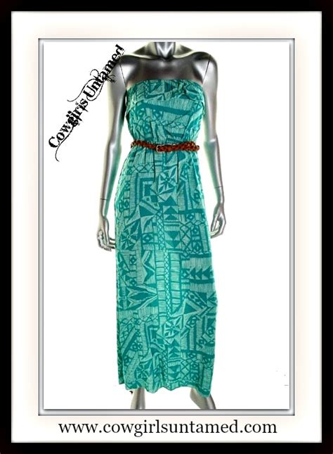 Maxi Free Belt dress blue aztec strapless boho maxi dress