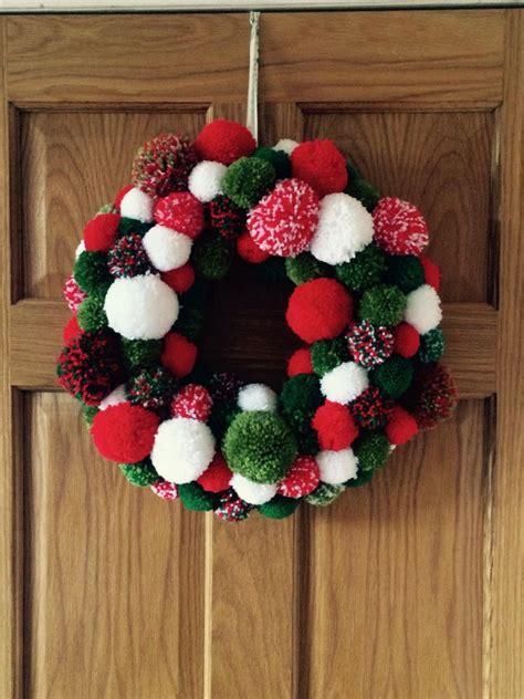 pom pom christmas wreath    jomoore  pom poms   polystyrene ring wreaths