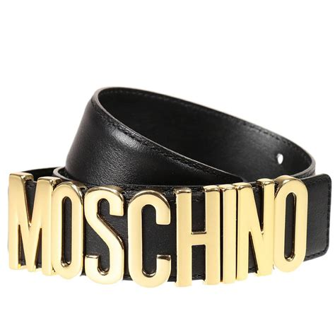 Moschino Belt lyst moschino belt lettering calf leather in black