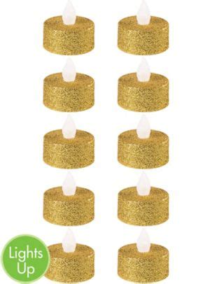 led gold glitter flameless candle 10 in candles home glitter gold tealight flameless led candles 10ct party city