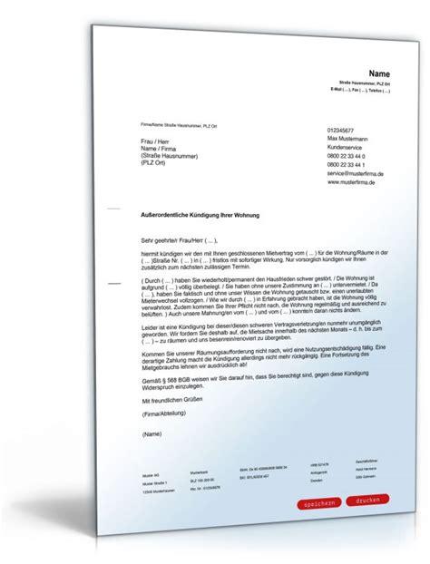 Fristlose Kündigung Mietvertrag Vermieter by K 252 Ndigung Mietvertrag Fristlos Vermieter
