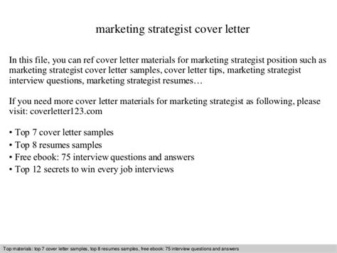 Advertising Strategist Cover Letter by Marketing Strategist Cover Letter