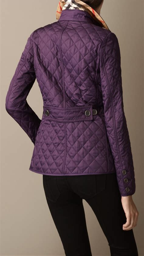 burberry cinched waist quilted jacket in purple lyst