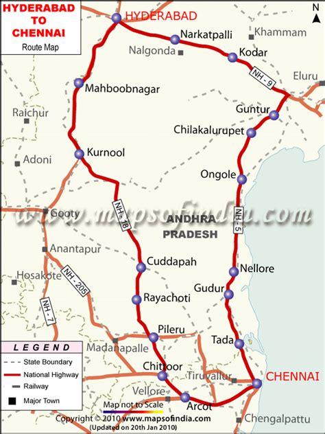 printable chennai road map hyderabad to chennai route map