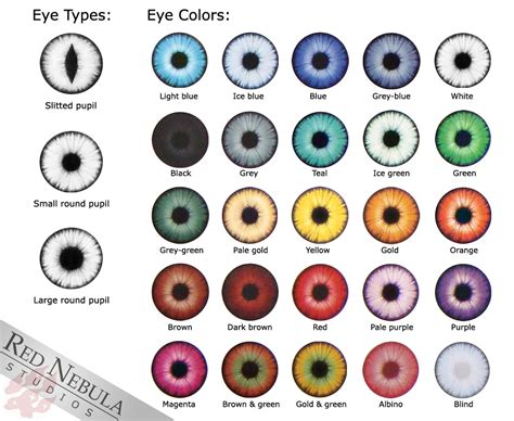 printable eye color chart 20mm glass eyes red nebula studios
