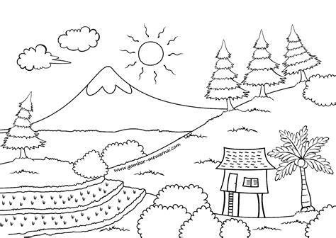 Coloring Mewarnai Pemandangan mewarnai pemandangan alam contoh gambar mewarnai