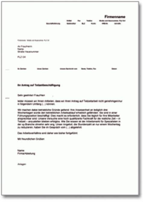 Vorlage Kündigung Arbeitsvertrag Nach Elternzeit Ablehnung Des Antrags Auf Teilzeitarbeit