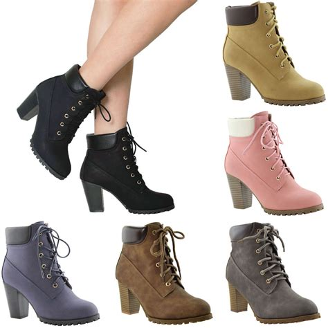 laced up high heel boots s ankle boots lace up booties chunky stacked high