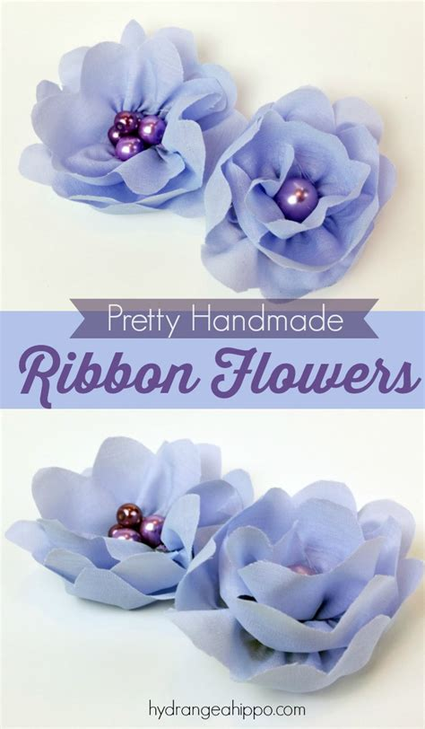 How To Make Handmade Flowers From Ribbon - how to make a ribbon flower hydrangea hippo by