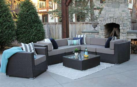 pc patio set modern outdoor sectional sofa furniture rattan wicker grant  ebay