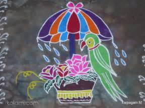 Diwali Greeting Card Making Ideas - rangoli parrot kolam birds www ikolam com