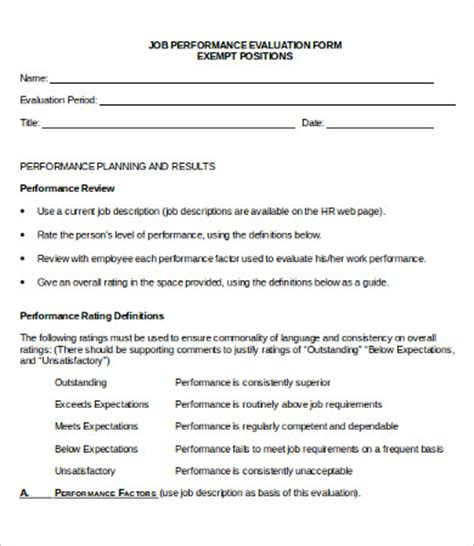 performance evaluation forms performance evaluation form 10 free word pdf documents
