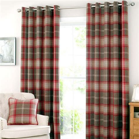 dunelm kitchen curtains red highland check lined eyelet curtain collection