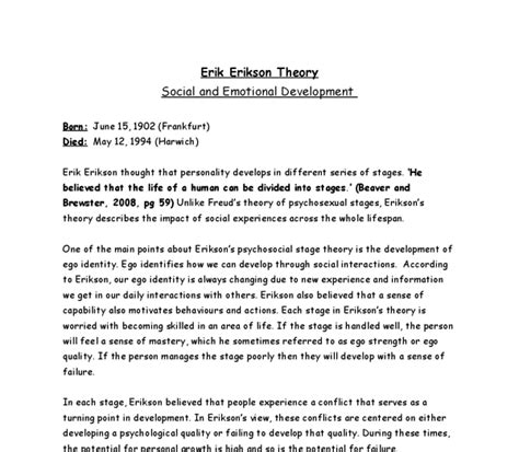 Social Development Essay by Erik Erikson Theory Social And Emotional Development A Level Healthcare Marked By Teachers