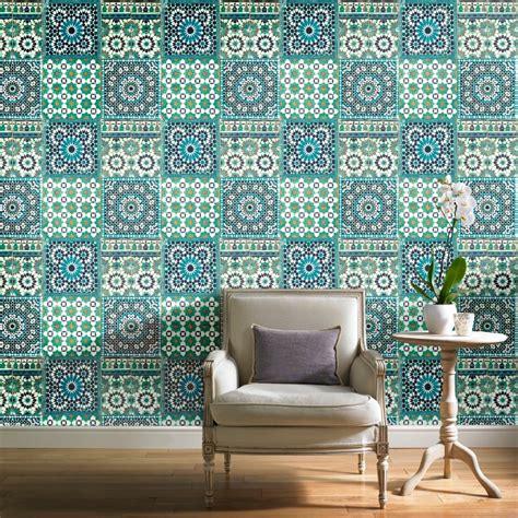 V25 Wallpaper Sticker Motif Vintage Blue Gold grandeco botanical moroccan tile pattern wallpaper retro floral textured motif ba2503 teal i
