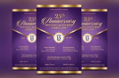 Wedding Anniversary Brochure by Wedding Anniversary Gala Flyer Template Design Bundles