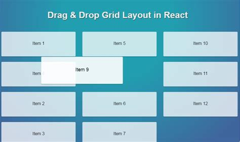 grid layout library drag drop grid layout in react react js exles