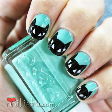 imagenes de uñas decoradas verde jade u 241 as decoradas con gato negro y verde menta