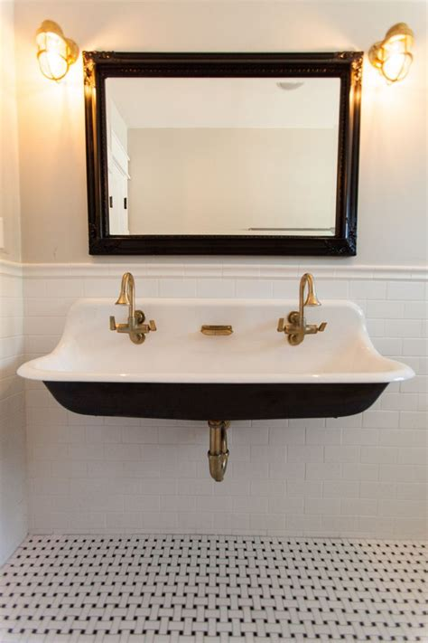 kohler trough sink bathroom cast iron trough sink with brass hardware by rafterhouse
