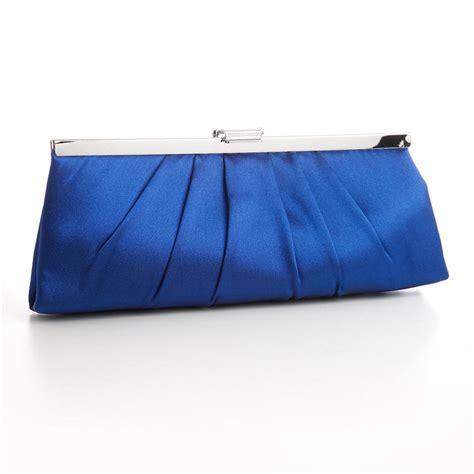 royal blue satin clutch purse