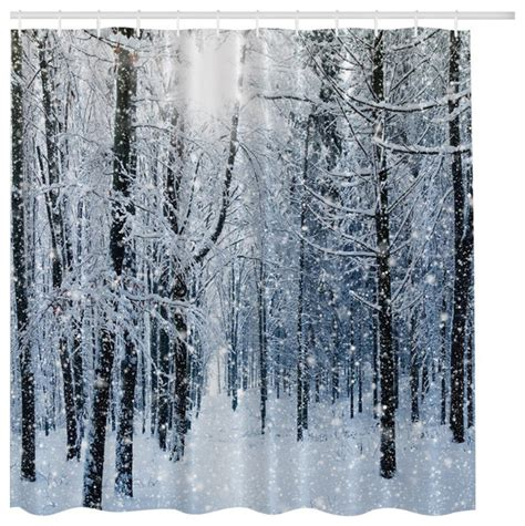 Curtains With Trees On Them Winter Snow On Trees In A Forest Fabric Shower Curtain Traditional Shower Curtains By