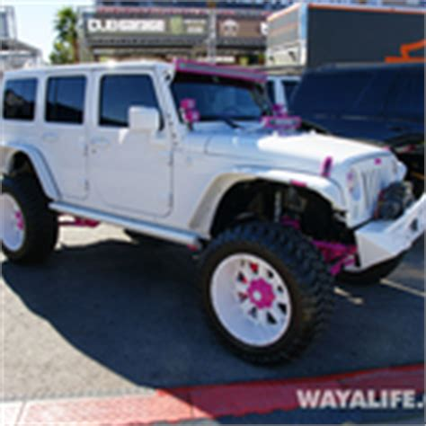 white and pink jeep 2014 sema white pink dub jeep jk wrangler unlimited