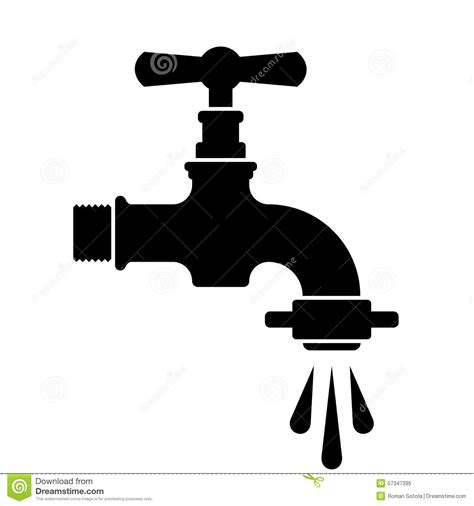 rubinetto water black retro water faucet tap symbol stock vector