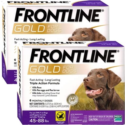 frontline gold for dogs frontline 174 gold for dogs 45 88 lbs purple 12 month entirelypets
