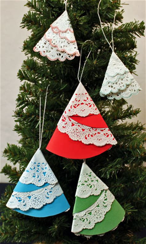 Inexpensive Christmas Tree Ornaments - funezcrafts easy christmas crafts paper doily folded christmas tree ornament