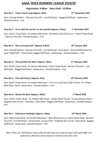 Athletics Road Running schedules announced
