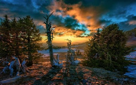 landscape nature sunset clouds snow trees hill