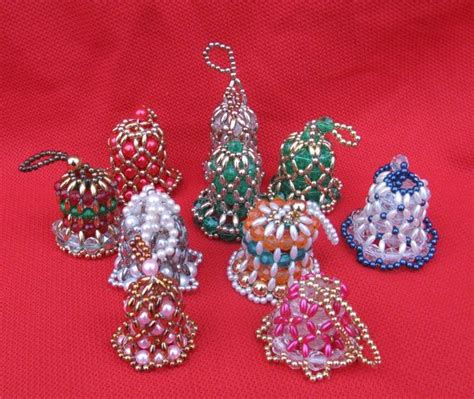 vintage beaded bells tree ornaments set of 10