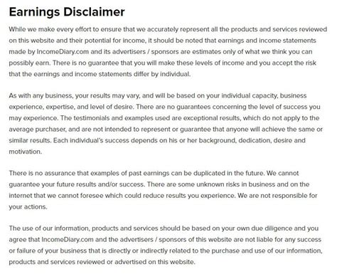 Earnings Disclaimer Template by When And How To Write An Earnings Disclaimer Termsfeed