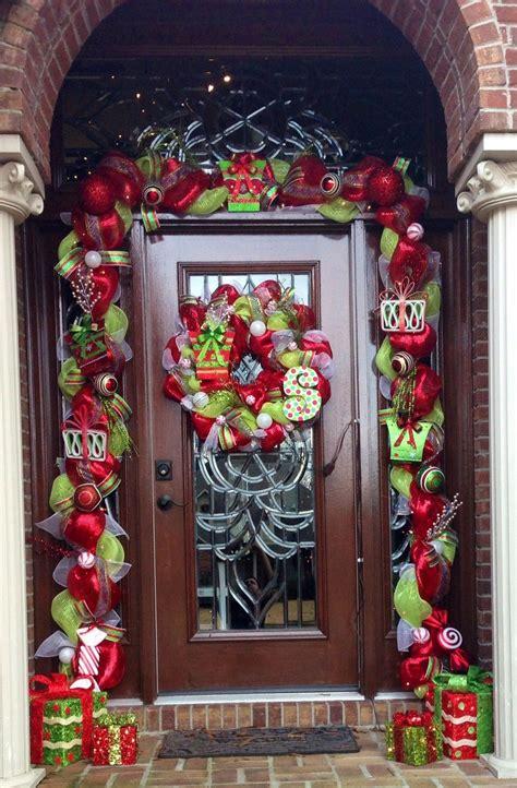 deco mesh garland  front door wreaths pinterest