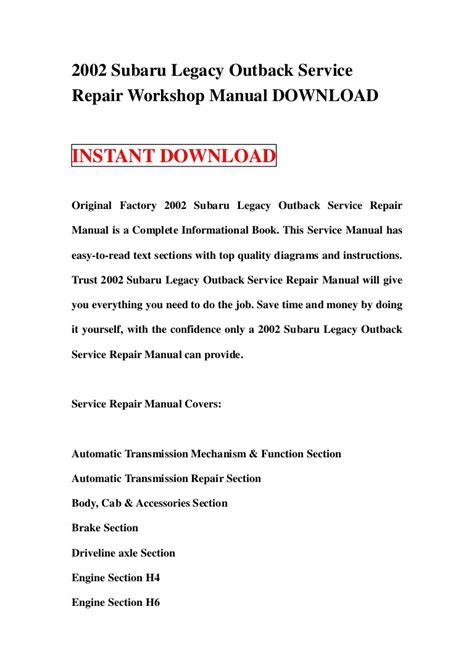 2002 subaru legacy outback service repair workshop manual