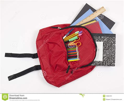 Gift For Architecture Student backpack with school supplies spilling out stock image