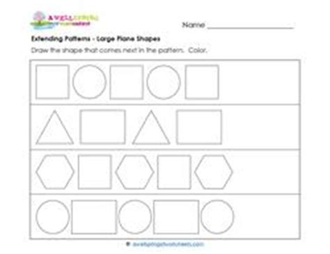 extend patterns worksheets for kindergarten extending patterns large plane shapes a wellspring